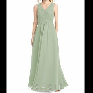 Azazie Flora Dusty Sage Bridesmaid Prom Dress